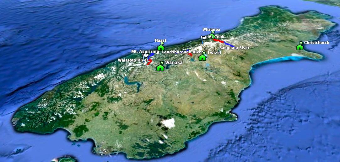 Карта Южного острова