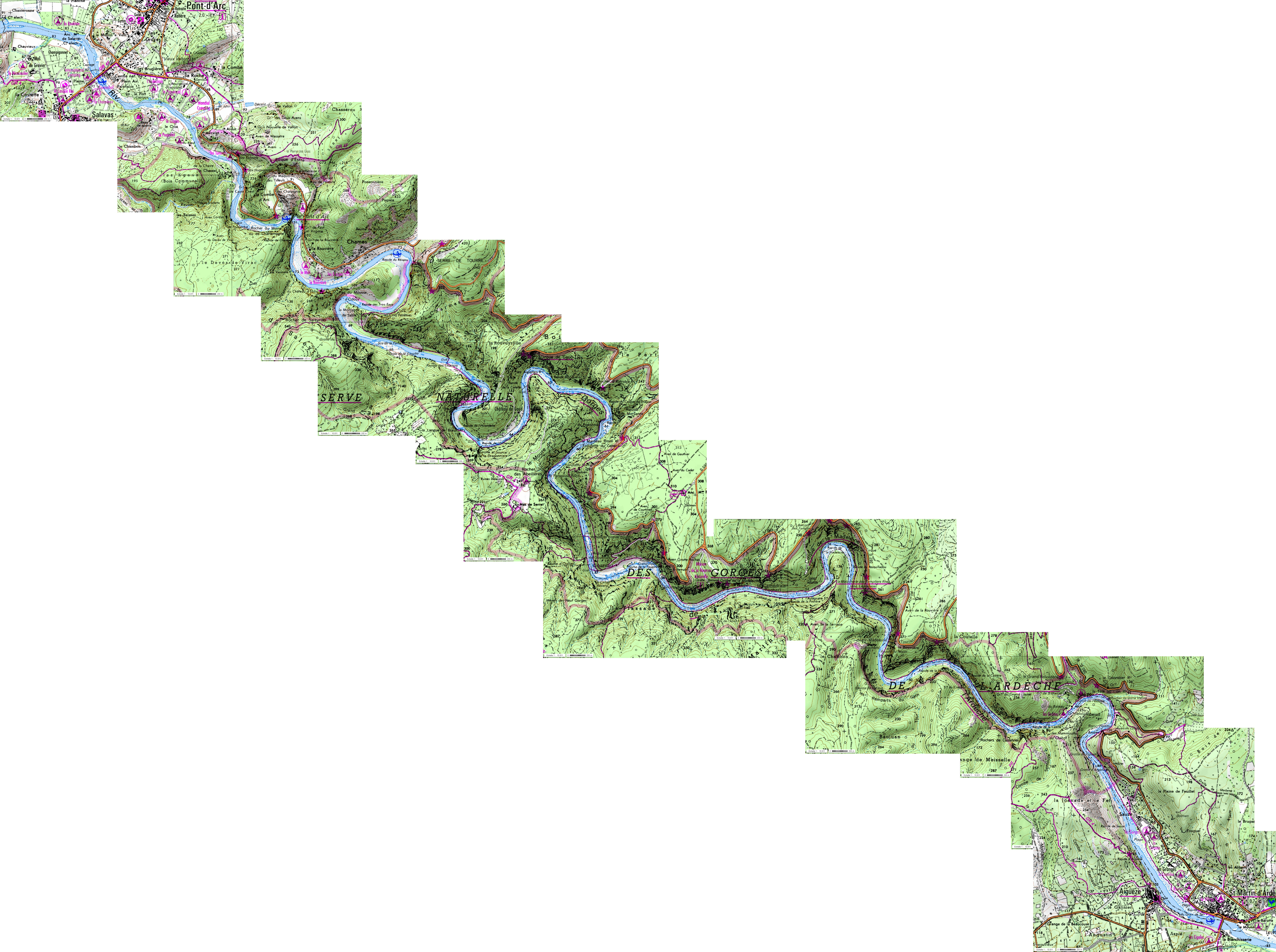 Карта каньона Ардеш