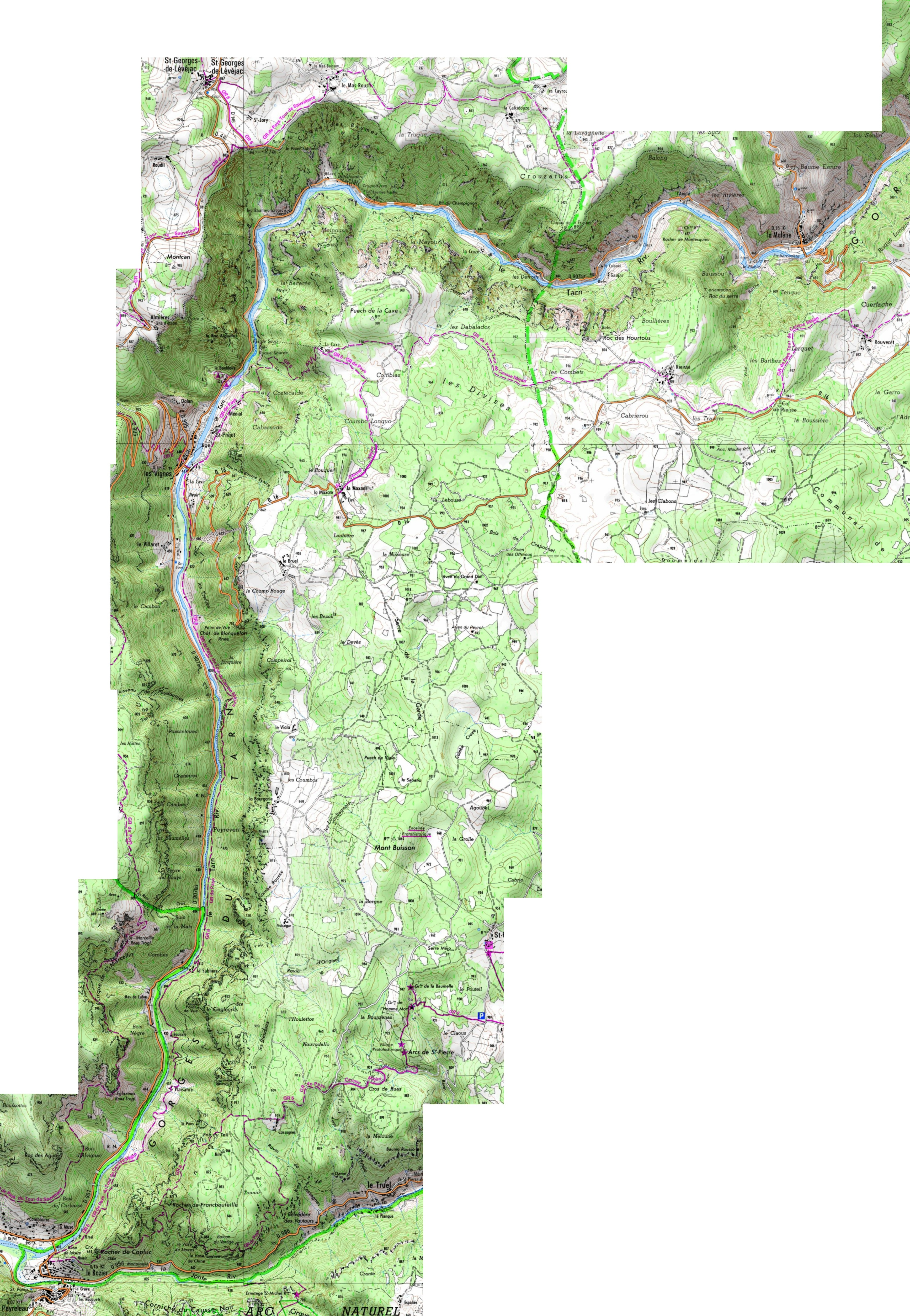 Карта Тарнского ущелья